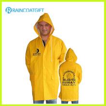 Yellow PVC Polyester PVC Rain Jacket Rpp-036