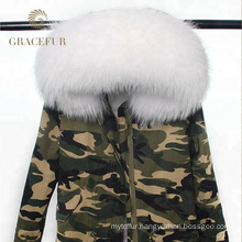 China wholesale woman winter parka fur parka coat raccoon hooded with fur lining
