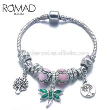 fashion bracelet OEM manufacturer bulk custom logo crystals women 925 sterling silver /brass chain charm bracelet