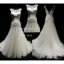 Elegante cola de pescado cariño vestido de novia vestido de novia con escote sin mangas BYB-14509