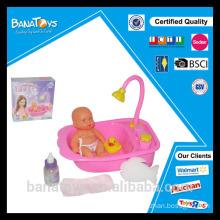 Funny baby doll bathing toy set with bathtub bath duck toy