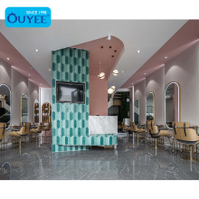 Beauty Parlor Interior Design Hair Salon Display Showcase Pink Nail Salon Table Beauty Furniture