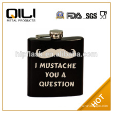 Hot sale LFGB6oz stainless steel outdoor black travel painting liquor container metal pocket flask with keychain and silk-screen