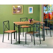 Mesa de jantar MDF 1 + 4 Mesa de jantar Câmera Tubo de aço para casa
