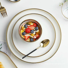 White Porcelain Plates and Bowls Set Service for 1/2/4 Ceramic Food Plate Full Tableware of Dishes for Restaurant Hotel