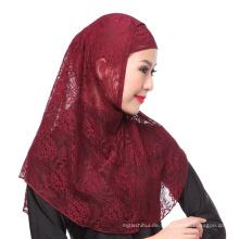 2017 Eleganz muslimischen Hochzeit einfarbig Spitze Instant Hijabs Cap und Schal twinset