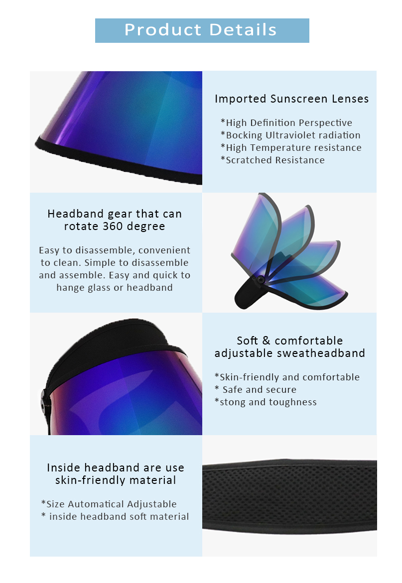 Rainbow Face Shield Uv Protection Sun Visor Hat Supplier Wholesale