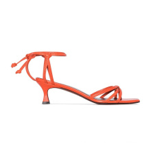 women hot red strappy square toe tapered heel sandals