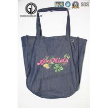 2016 Quantity Denim Fashion Ladies Shopping Tote Bag with Embroidery