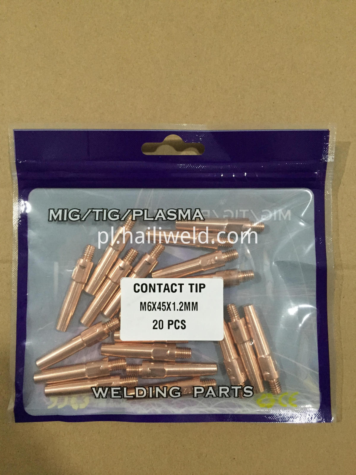 contact tip m6x45x1.2mm