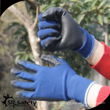 SRSAFETY 15gauge knitted polyester coated nitrile on palm for safety working gloves