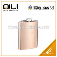 8oz copper plated stainless steel metal hip flask for promotion