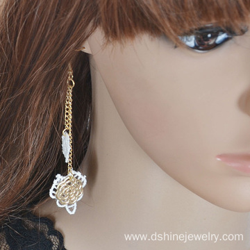 Women Earrings For Party Hand-Made Lace Long Chain Earring