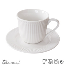 Embossed White Colour Pocerlain Tea Cup and Saucer