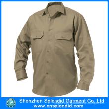 Projeto barato da camisa do trabalho da broca do algodão do Workwear de Khaki para homens