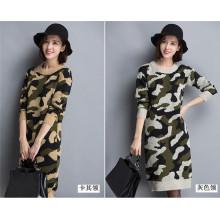 Robe en tricot à capuchon en camouflage coréen O-Neck