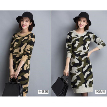 Coreano O-Pescoço Camouflage Sweater Hoodies Knitting Dress