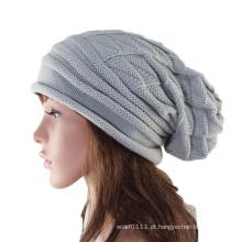 Senhora moda acrílico de malha inverno quente gorro chapéu (yky3123)