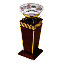 Wooden Lobby Dustbin with Ashtray (YW0061-1)
