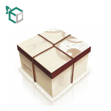CMYK printing Square Display Recycled Chocolate Cake Box With Tray