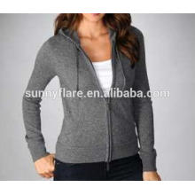 Women 100% Cashmere Coat Sweater With Front Zip