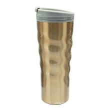 Изогнутые нержавеющая сталь Вакуумные кофе кружку 16oz золотой пустыне