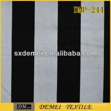 tissu en toile 100 % coton rayé noir et blanc