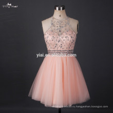 RSE663 Sexy Halter Neckline Short Evening Dress Bling Bling Real Pictures Of Cocktail Dress