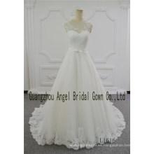 Vestido de novia de cuello redondo marfil una línea vestido de novia de ángel Birdal