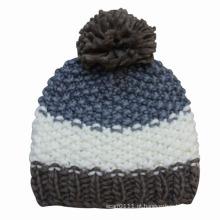 Senhora moda lã malha gorro de inverno quente chapéu (yky3107)