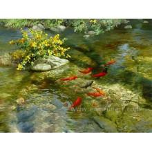 Pintura do peixe na lona para a sala de visitas