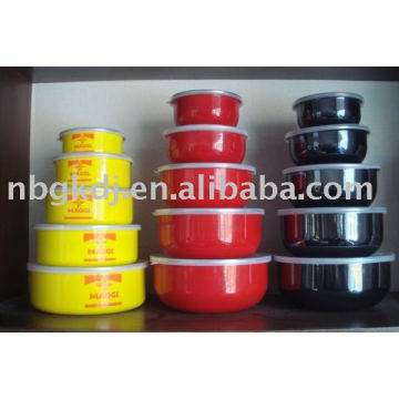 color enamel bowl with pp lid