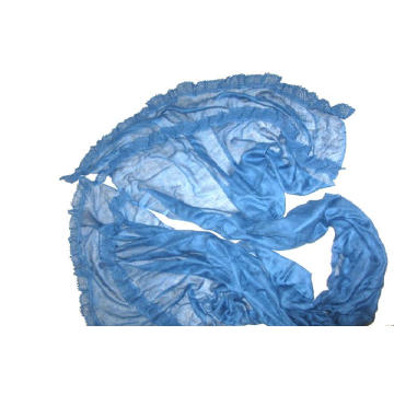 Fine Wool Lace Trimed Shawl