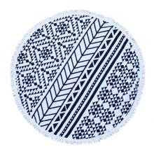 Serviette de plage ronde en coton ou microfibre OEM avec glands