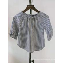 fio de algodão tingido blusa listrada manga meninas blusa