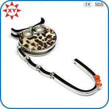 Percha plegable para bolso con estampado de leopardo en forma de búho