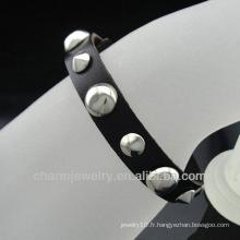Bracelet en cuir noir avec rivets et autres parures pour bracelets en cuir véritable homme ou femme BGL-035