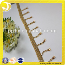 yellow beaded Fringe for dresses and home decoration