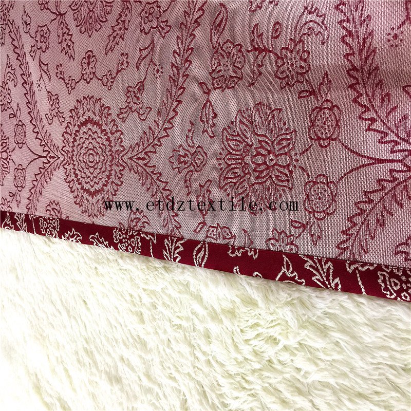 American Trend Polyester Jacquard Ready Made Curtain GF030 Red