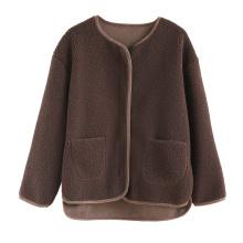Blusa de pele falsa para senhora jaqueta casual