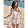 Nouvelle robe de femmes 2017 robe de plage blanche robe de plage en dentelle