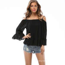 New arrivals fashion cutting blouse design sexy lady blouse chiffon sun-top
