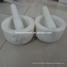 white marble mortar and pestle natural stone