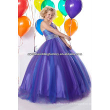 Free shipping one shoulder beaded appliqued ball gown blue flower girl pageant dress CWFaf5395