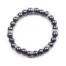 Hématite 8mm perles Bracelet en acier inoxydable alliage breloque pour hommes