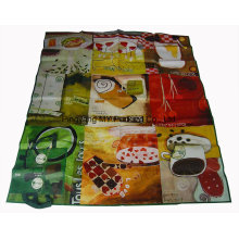 Glossy Laminated Carrying PP Woven Shiny Handle Beach Mat