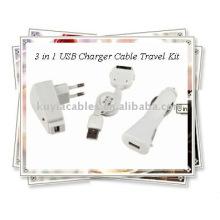 OEM 3 em 1 carregador USB cabo Travel Kit para iPhone (branco)