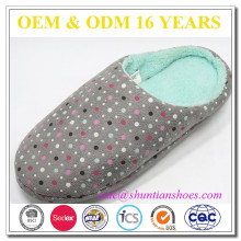 Fashion color dot print with coral fleece lining warm mule slippers