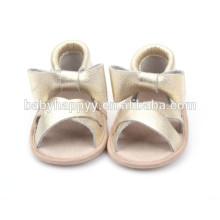 Logo personnalisé nouvelle été baby sandales à la main en cuir véritable