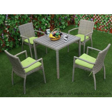 New American Outdoor Garden Furniture Patio PE Resin Wicker Grey Polywood Table and 4PCS Restaurant Chairs